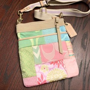 COACH Pink and Green Patchwork Sling Purse